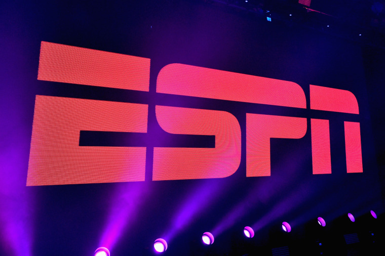 Image: A view of the logo during ESPN The Party on Feb. 5, 2016 in San Francisco.