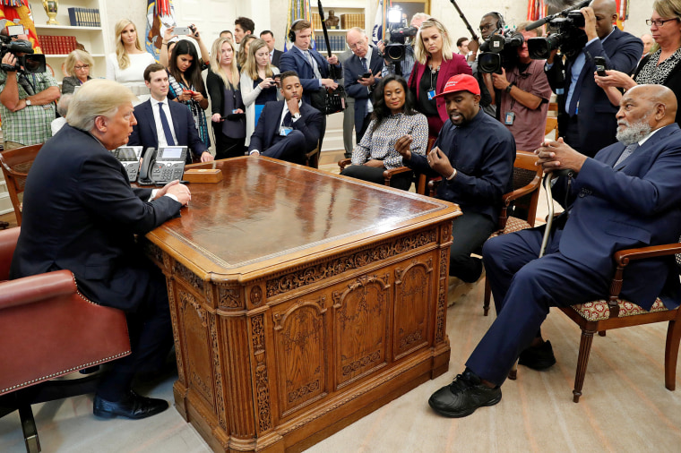 Image: U.S. President Trump meets with rapper West and NFL Hall of Famer Brown at the White House in Washington