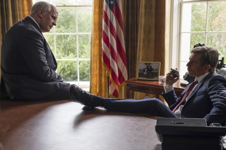"Image: Christian Bale as Dick Cheney, left, and Sam Rockwell as George W. Bush in a scene from ""Vice."""