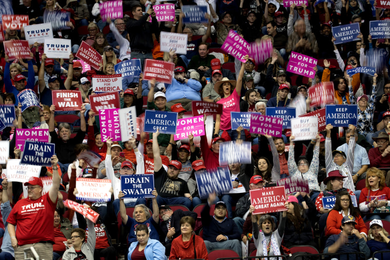 Image: Supporters cheer before President Donald Trump takes the stage for a rally in support of Senator Ted Cruz in Houston on Oct. 22, 2018.