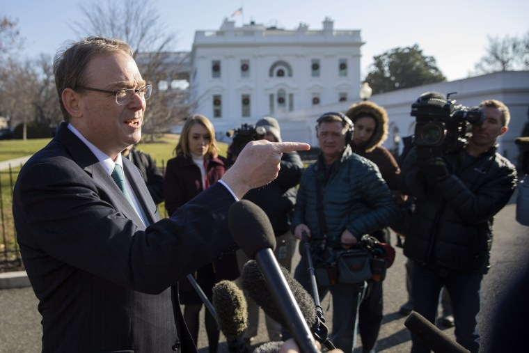 Image: Kevin Hassett, chairman of the Council of Economic Advisers, speaks to the media outside the White House on Dec. 26, 2018.