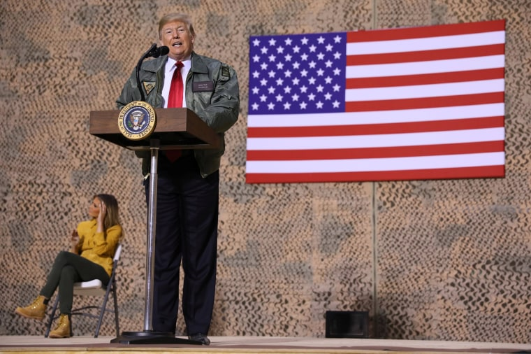 Image: President Donald Trump speaks to troops at the Al Asad Air Base.