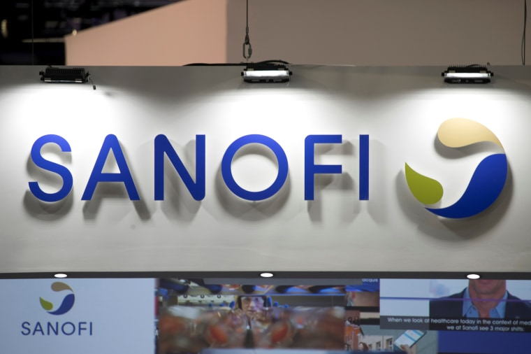 Image: The Sanofi logo at the Viva Tech start-up and technology summit in Paris on May 25, 2018.