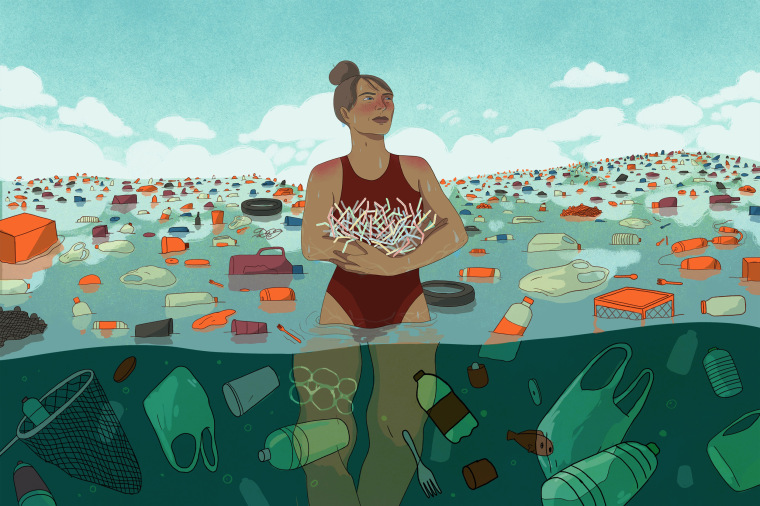 Illustration of woman holding straws in an ocean full of plastic garbage.