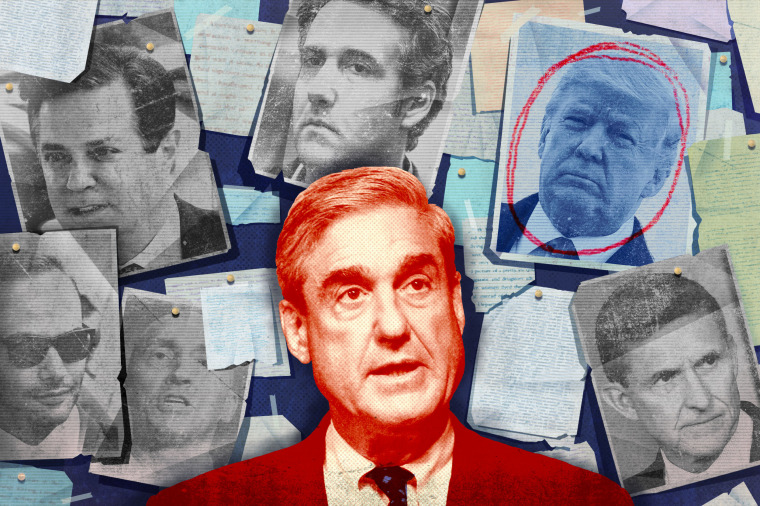 Photo illustration of Robert Mueller, Donald Trump, George Papadopoulos, Michael Flynn, Michael Cohen, and Carter Page.