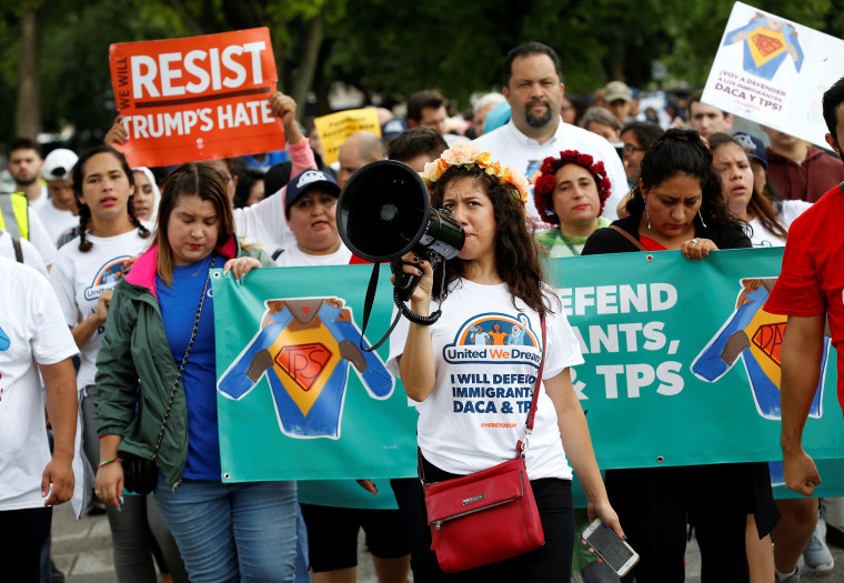 Image: Demonstrators march during a rally to protect the Deferred Action for Childhood Arrivals (DACA) and Temporary Protection Status (TPS) programs in Washington on Aug. 15, 2017.