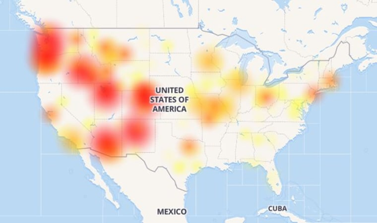 A CenturyLink outage map on Dec. 28, 2018.