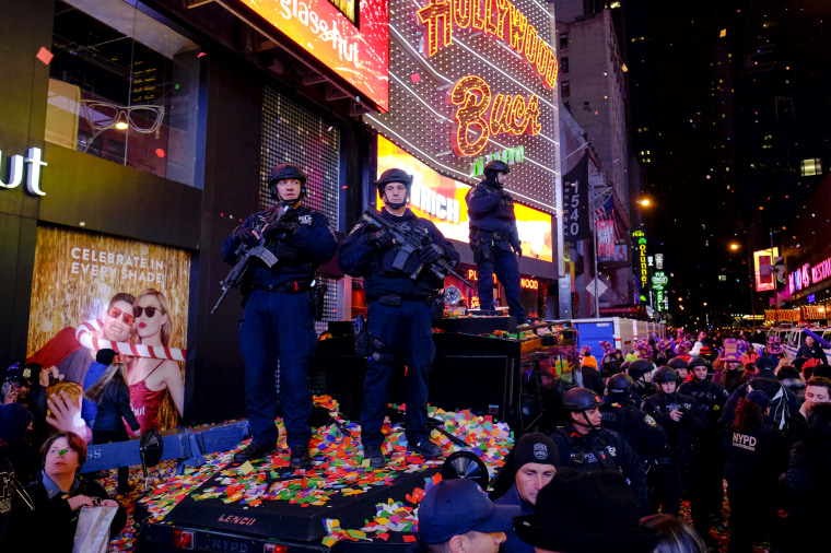 Image: NYPD officers stand guard during the New Year's Eve celebrations in Times Square on Jan. 1, 2016.