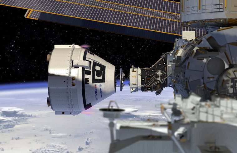 Boeing's Starliner docks at the International Space Station in this artist's concept.