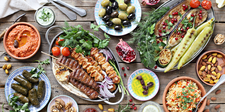 The Mediterranean diet is high in vegetables, fruits, whole grains, beans, nuts, seeds and olive oil.