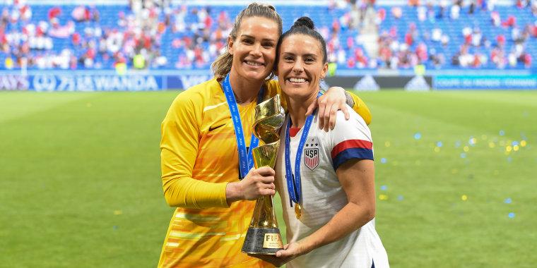 Ashlyn Harris and Ali Krieger after U.S. women's World Cup victory