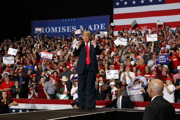 President Donald Trump arrives at a rally in Cape Girardeau, Missouri, on Nov. 5, 2018.