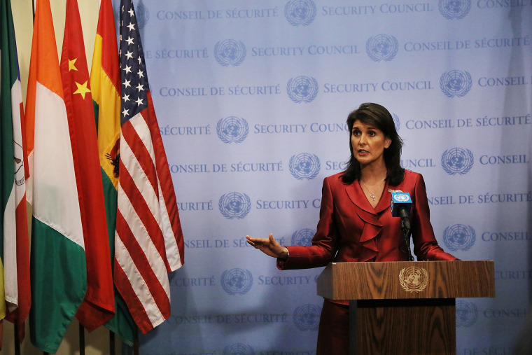 Image: U.S. Ambassador To The United Nations Nikki Haley  Briefs The Media