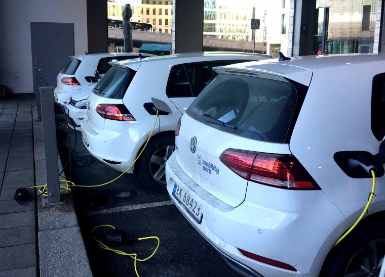 Image: Electric cars are parked in Oslo, Norway, on Jan. 2, 2019.