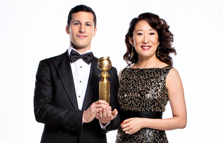 Image: Andy Samberg and Sandra Oh, hosts of The 76th Golden Globe Awards.