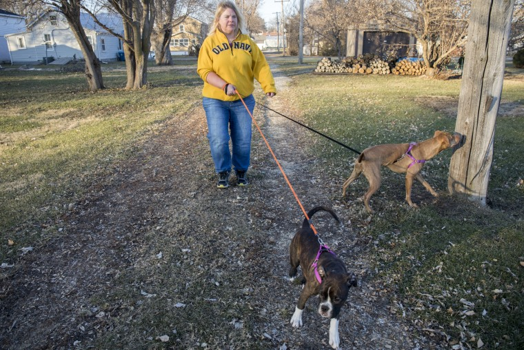 "Danette Lake walks her dogs, Zoe and Chloe. One year after having knee replacement surgery to treat arthritis, she says she's ""in constant pain."""
