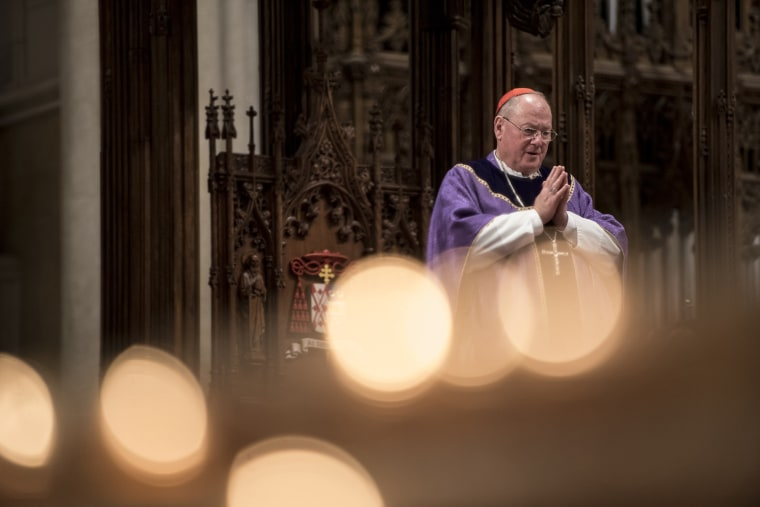 Image: Cardinal Timothy Dolan holds mass on Ash Wednesday at St. Patrick's Cathedral in New York on Feb. 10, 2016.