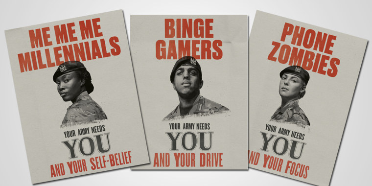Three of the British army's new recruitment ads.