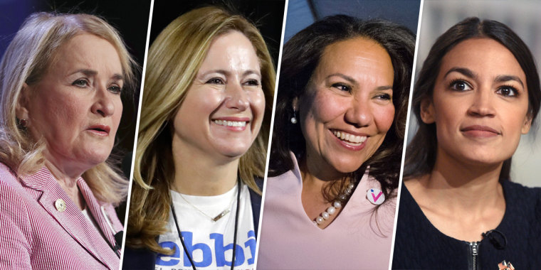 From left, Sylvia Garcia, Debbie Mucarsel-Powell,  Veronica Escobar and Alexandria Ocasio-Cortez.