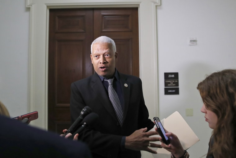 Image: Rep. Hank Johnson speaks to the media on Capitol Hill on April 24, 2018.