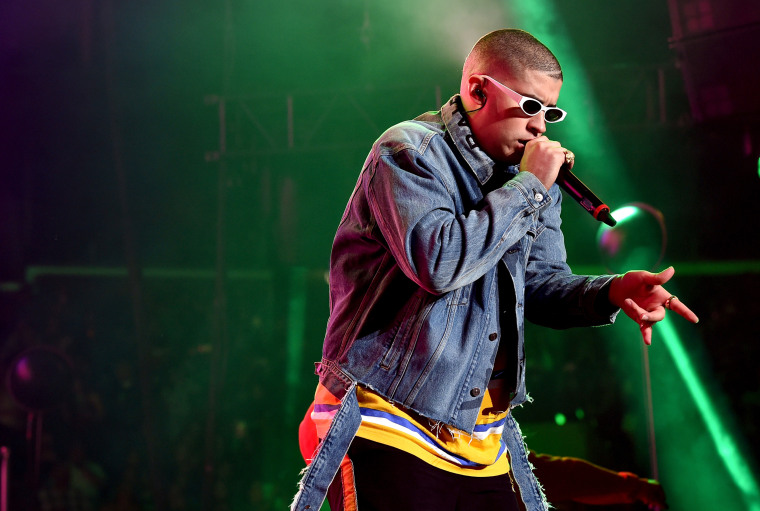 Image: Bad Bunny performs onstage during the Calibash Los Angeles concert in Los Angeles on Jan. 20, 2018.