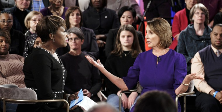 "Nancy Pelosi speaks with Joy Reid on ""The Speaker: An MSNBC Town Hall."""