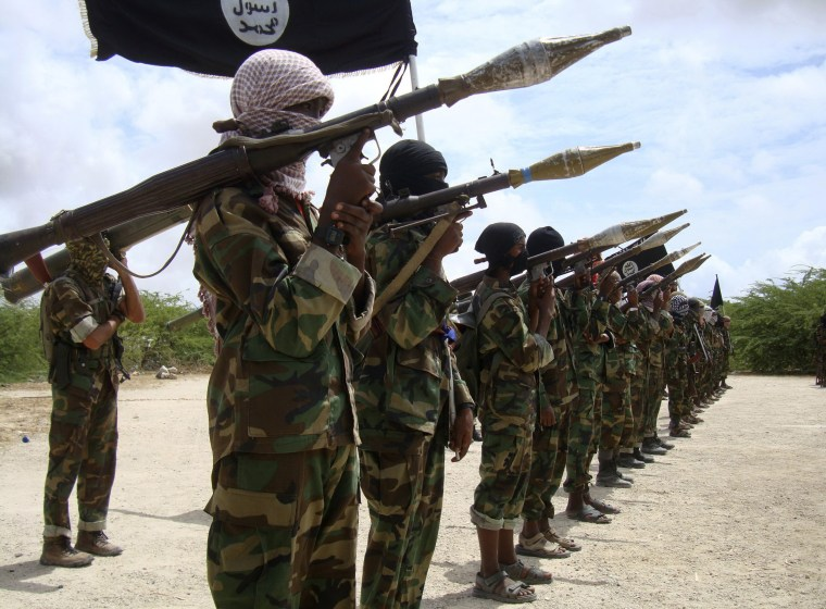 Image: Al Shabaab militants parade new recruits after arriving in Mogadishu, Somalia, on Oct. 21, 2010.