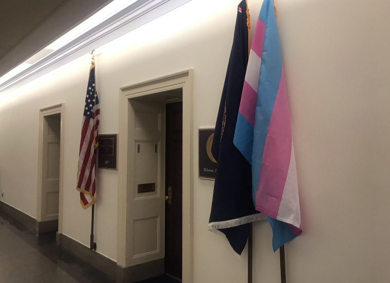 Image: A transgender flag stands outside of Representative Jennifer Wexton's office in Washington on Jan. 4, 2019.