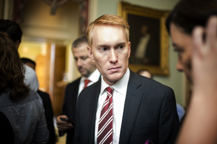 Image: Sen.-elect James Lankford, R-Okla., speaks with reporters at the Capitol on Nov. 12, 2014.