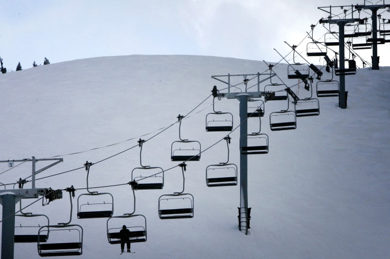 Image: A skier rides the lift at Killington Ski Resort in Vermont on Jan. 16, 2009.