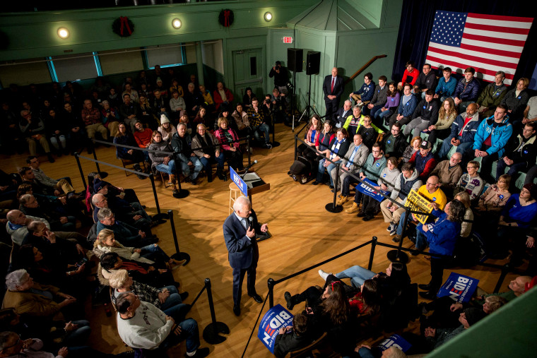Image: Joe Biden speaks during a campaign town hall in Exeter, N.H., on Dec. 30, 2019.