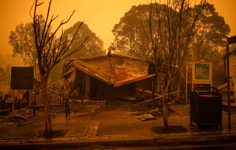 Image: Burned buildings in Cobargo, Australia