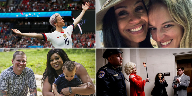 Clockwise from top, Megan Rapinoe of the U.S. women's soccer team; NBC News anchor Meagan Fitzgerald and her fiancee Kelly Heath; Pissi Myles reports from Capitol Hill; transgender couple Jay Thomas and Jamie Brewster with their son.