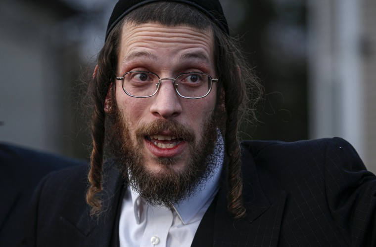 Image: Joseph Gluck speaks to the press about a machete attack during a Hannukah celebration in Monsey, N.Y., on Dec. 29, 2019.