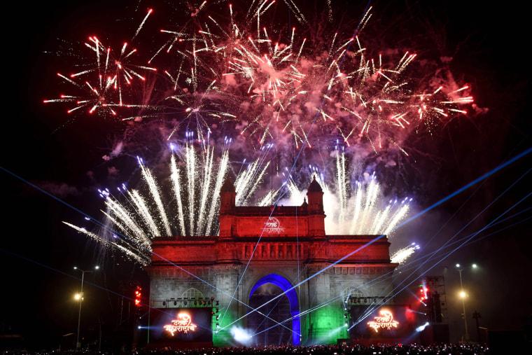 New Year's Eve fireworks erupt over Mumbai's iconic Gateway of India.