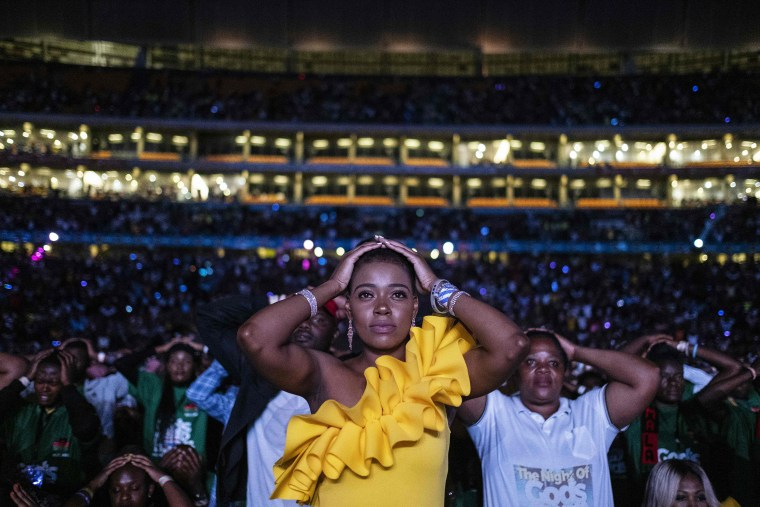 Image: Worshippers at the United Prayers Crossover hosted by pastor Shepherd Bushiri from the Enlightened Christian Gathering