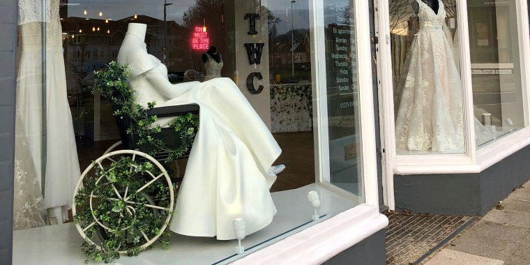 Mannequin bride in wheelchair