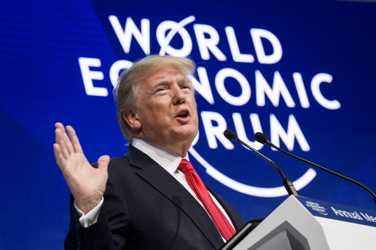 Image: President Donald Trump delivers a speech during the World Economic Forum (WEF) annual meeting on Jan. 26, 2018 in Davos, eastern Switzerland.