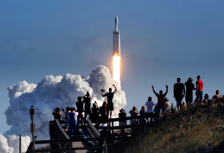 Image: SpaceX Launches Falcon Heavy Rocket In Historic Flight