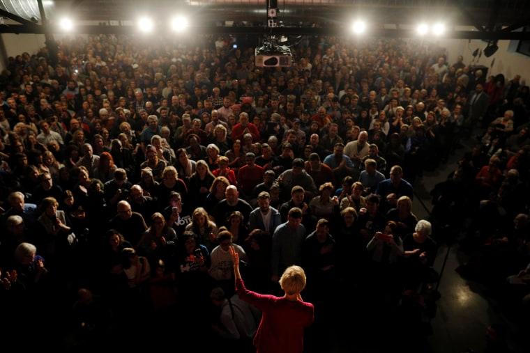 Image: Sen. Elizabeth Warren, D-Mass, speaks during an organizing event in Des Moines