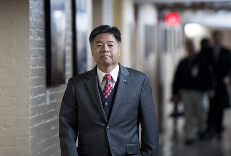 Rep. Ted Lieu, D-Calif., arrives for the House Democrats' caucus meeting on Friday.