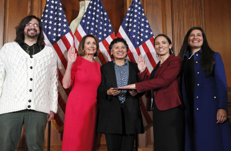 Image: Nancy Pelosi during a ceremonial swearing-in with Rep. Sharice Davids on Capitol Hill on Jan. 3, 2019.