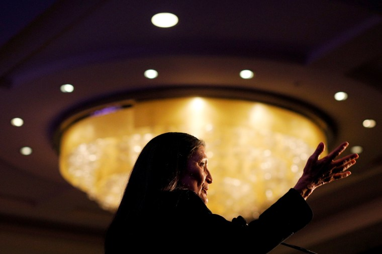 Image: Rep. Deb Haaland speaks at a reception hosted by the Congressional Native American Caucus in Washington on Jan. 3, 2019.