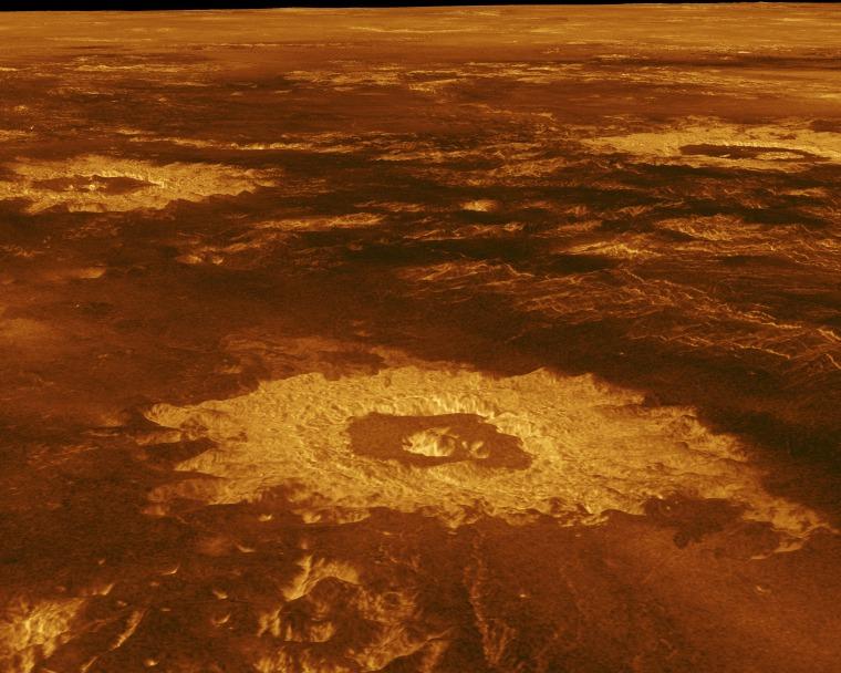 """Image: La """"ferme du cratère"""" sur Vénus."""