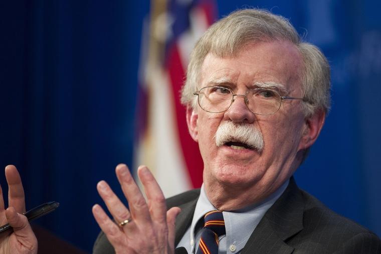 Image: National security adviser John Bolton talks at the Heritage Foundation in Washington