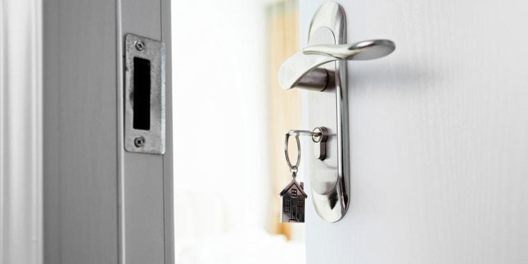 Image: Key in front door