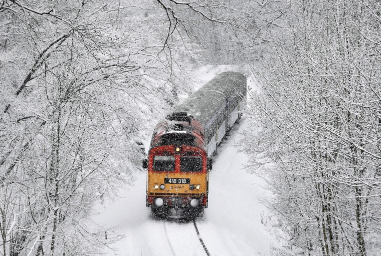 Image: A train crosses the Cuha Valley during heavy snowfall near Vinnye, Hungary, on Jan. 8, 2019.