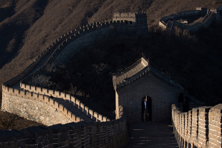 Image: A U.S. secret service agent secures a section of the Great Wall ahead of the arrival of first lady Melania Trump in China on Nov. 10, 2017.