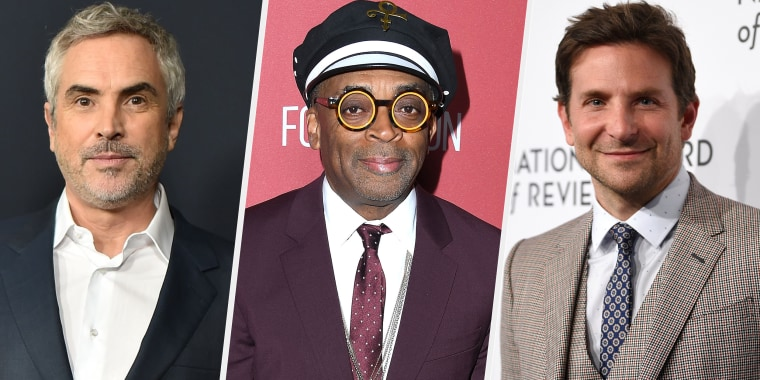 Alfonso Cuaron, left, Spike Lee and Bradley Cooper