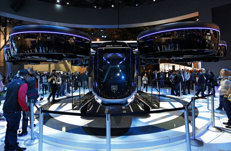 The Bell Nexus hybrid electric air taxi concept is on display at the Bell booth at CES International